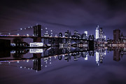 Large Format Art - Brooklyn Bridge Park  Lower Manhattan New York City by Marshall Bishop