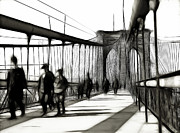 Brooklyn Bridge Drawings Posters - Brooklyn Bridge Shades of the Past Poster by Stefan Kuhn