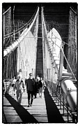 Brooklyn Bridge Posters - Brooklyn Bridge Shadows 1990s Poster by John Rizzuto