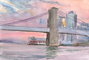 Brooklyn Bridge Painting Originals - Brooklyn Bridge Sunset 2013 by Walter Mosley