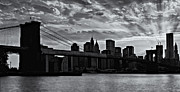 New York City Skyline Framed Prints - Brooklyn Bridge Sunset BW Framed Print by Susan Candelario