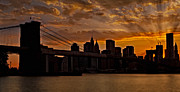Brooklyn Bridge Sunset Print by Susan Candelario
