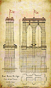 Brooklyn Bridge Digital Art Prints - Brooklyn Bridge Tower One Plans Print by Digital Reproductions