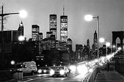 Commuters Framed Prints - Brooklyn Bridge traffic II dusk 1980s Framed Print by Gary Eason