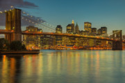 New York City Skyline Photo Framed Prints - Brooklyn Bridge Twilight Framed Print by Clarence Holmes