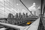 Yellow Cab Framed Prints - Brooklyn Bridge View NYC Framed Print by Melanie Viola