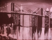 Brooklyn Bridge Painting Originals - Brooklyn Bridge by Vivian McCall