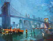Brooklyn Bridge Painting Posters - Brooklyn Bridge Poster by Ylli Haruni