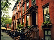 Red Buildings Posters - Brooklyn Brownstone - New York City Poster by Vivienne Gucwa