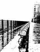 Park Benches Framed Prints - Brooklyn Heights Esplanade on a rainy winter day in 1976 Framed Print by Frank Tozier