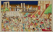 Crowd Scene Art - Brooklyn in the 90s by Paul Calabrese