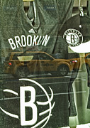 Glass Reflection Framed Prints - Brooklyn Nets Framed Print by Karol  Livote