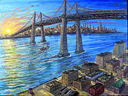 City Of Bridges Painting Posters - Brooklyn With Bridge Poster by Arthur Robins