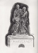 Maryland Drawings Posters - Brother With Brother Maryland Monument at Gettysburg Poster by Lou Knapp