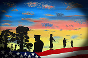 Patriotic Scenes Posters - Brotherhood 2 Poster by Ralston Art  And Design