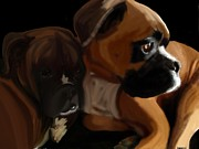 Brindle Digital Art Prints - Brotherly Love Print by Christina Kulzer