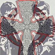 Celtic Cross Drawings - Brothers Behind the Cross by Jeremiah Colley