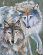 Wildlife Landscape Paintings - Brothers by Cher Devereaux