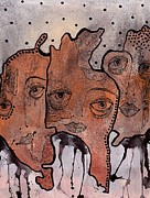 Outsider Art Mixed Media - Brothers by Gail Miller