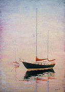 Sailboats In Harbor Pastels Posters - Brothers Poster by William Lurcott