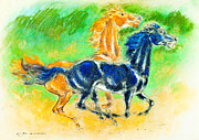 Featured Pastels Posters - Brown and black mustang galloping Poster by Kurt Tessmann