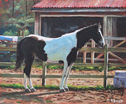Horse Stable Painting Posters - Brown and White Horse by Stable Poster by Martin Davey