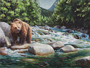 Wasilla Posters - Brown Bear On The Little Susitna River Poster by Karen Whitworth
