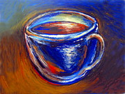 Art By Frederick Luff Framed Prints - Brown Blue Cup Framed Print by Frederick Luff  GALLERY