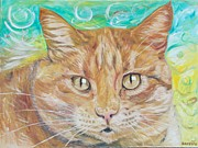 Riffle Prints - Brown Cat Print by PainterArtist FINs husband Maestro