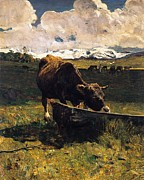 Neo Impressionism Framed Prints - Brown cow at trough  Framed Print by Giovanni Segantini