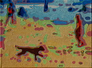 Thomas Bertram Poole Prints - Brown Dog On Beach Print by Thomas Bertram POOLE