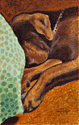 Animals Pastels Originals - Brown Dog by Tracy L Teeter