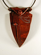 Polymer Jewelry - Brown Domed Pendant by P Russell