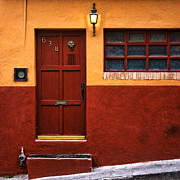San Miguel De Allende Framed Prints - Brown Door in Mexico Framed Print by Carol Leigh