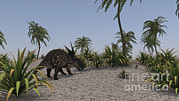 Prehistoric Digital Art - Brown Einiosaurus In A Prehistoric by Kostyantyn Ivanyshen