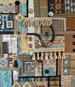 Yarn Tapestries - Textiles Posters - Brown Fabric Poster by Sue Gilliam