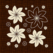 Textured Floral Prints - Brown floral design Print by Gaspar Avila