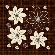 Brown Floral Design Print by Gaspar Avila