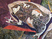 Quilt Collage Tapestries - Textiles Metal Prints - Brown Forest Toad Metal Print by Lynda K Boardman