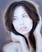 Beauty Mark Drawings - Brown Haired and Lightly Freckled Beauty by Jim Fitzpatrick