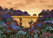 Setting Tapestries - Textiles Prints - Brown Landscape Print by Jean Baardsen