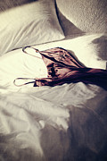 Brown Negligee Laying Across Sheets On Bed Print by Sandra Cunningham