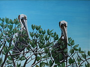 Pelican Painting Originals - Brown Pelicans AMI by Joan Garcia