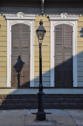 Streetlight Digital Art - Brown Shutter Doors and Street Lamp - New Orleans by Bill Cannon