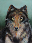 Dog Portrait Digital Art Originals - Brown Timber Wolf by Jean R Brown