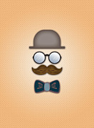 Moustache Digital Art Prints - Brown Top Hat Moustache Glasses and Bow Tie Print by Ym Chin