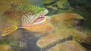 Phthalo Blue Paintings - Brown trout   by Ordy Duker