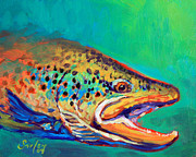 Trout Paintings - Brown Trout Portrait by Mike Savlen