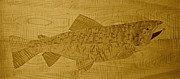 Trout Mixed Media Prints - Brown Trout Two Print by Kenneth Taber