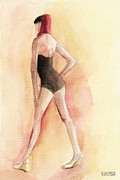 Feminine Framed Prints - Brown Vintage Bathing Suit 1 Fashion Illustration Art Print Framed Print by Beverly Brown Prints